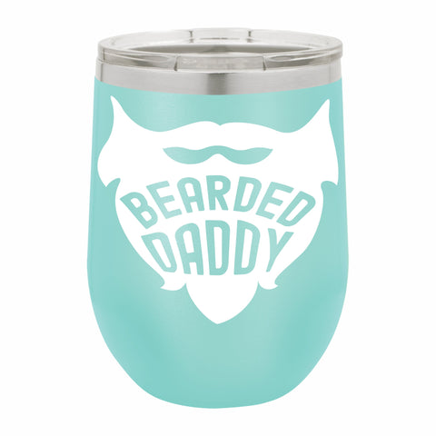 Bearded Daddy Funny Novelty Stainless Steel Wine Tumbler 12 oz, Double Walled Vacuum Insulated Tumbler with Splash Proof Lid Gift For Men & Women