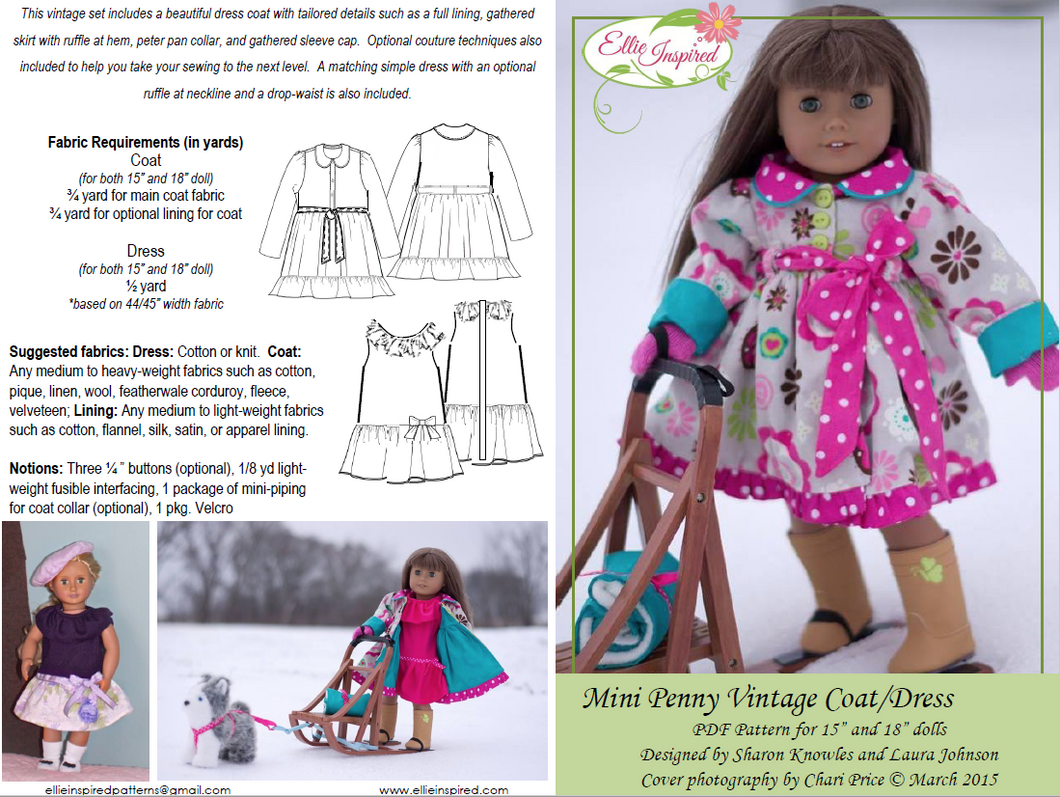 Penny Vintage Dress Coat by Ellie Inspired (Doll 15