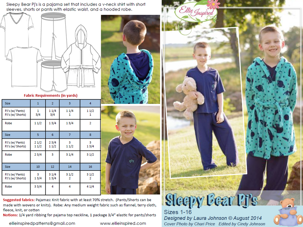 Sleepy Bear PJs by Ellie Inspired (Kids 1 - 16)