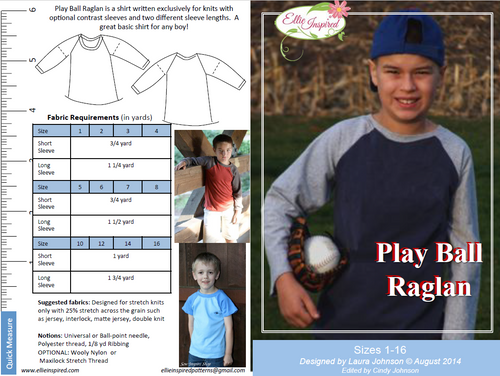 Play Ball Raglan by Ellie Inspired (Boys 1 - 16)