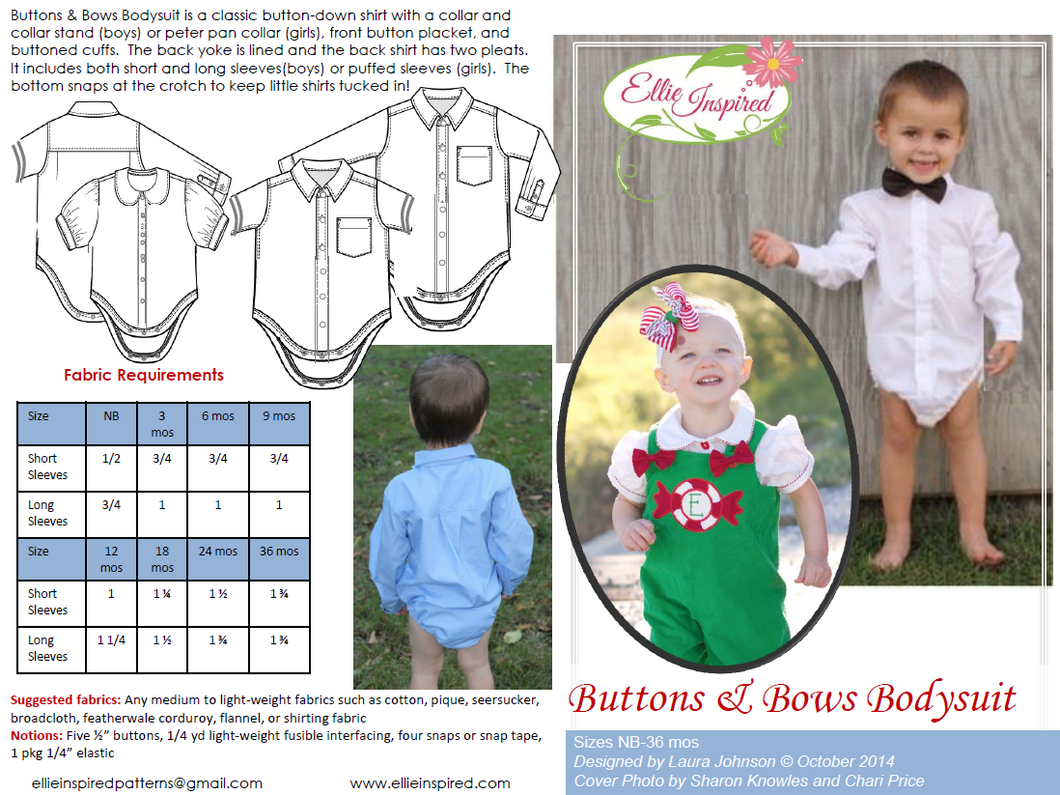 Buttons & Bows Bodysuit by Ellie Inspired (Baby NB - 36mo)