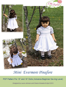 "Evermore Pinafore by Ellie Inspired (Doll 15"" & 18"")"