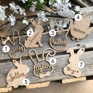 MDF wood easter basket tag