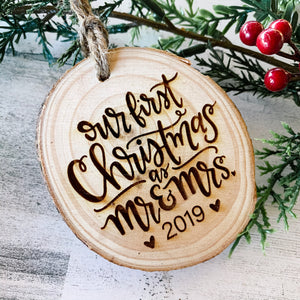 mr. and mrs. first christmas wood slice ornament
