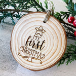 Load image into Gallery viewer, Baby's First Christmas wood slice ornament