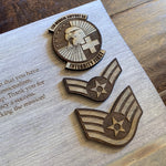 Load image into Gallery viewer, oklahoma cutout with military ranks and patch