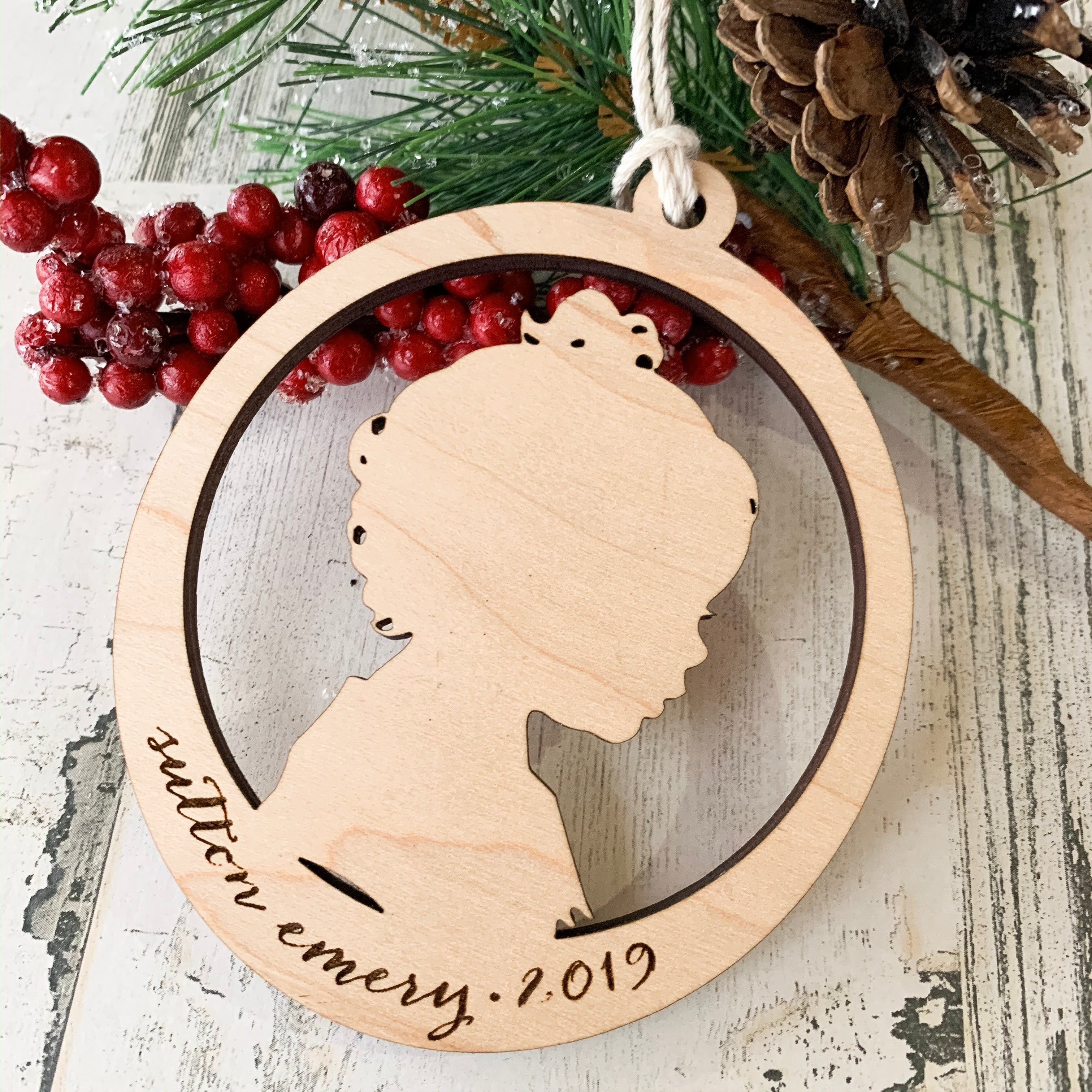 child silhouette wood ornament