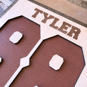 personalized football sign with number player and team name