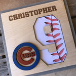 Load image into Gallery viewer, personalized baseball sign with name number and team name