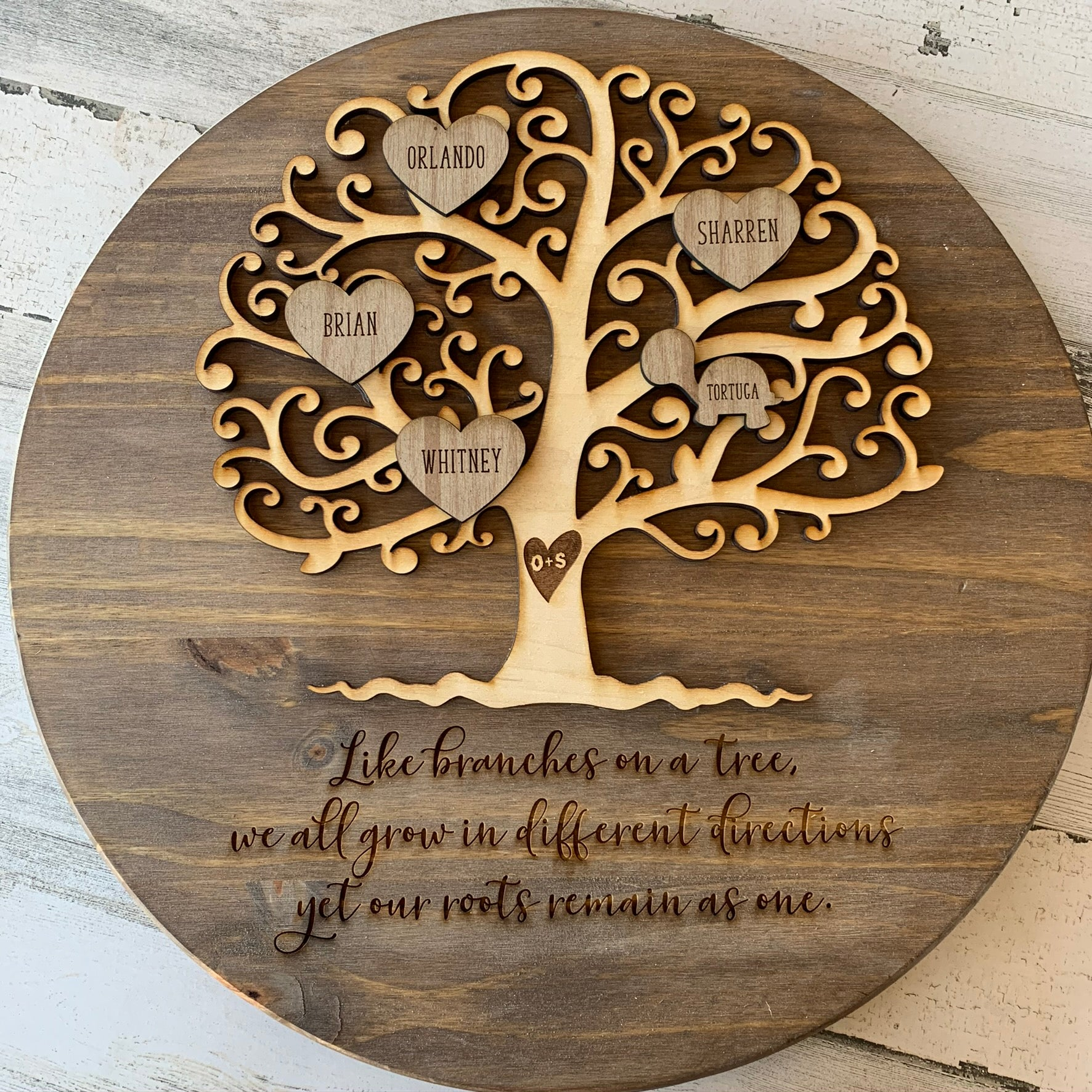 round wooden family tree sign