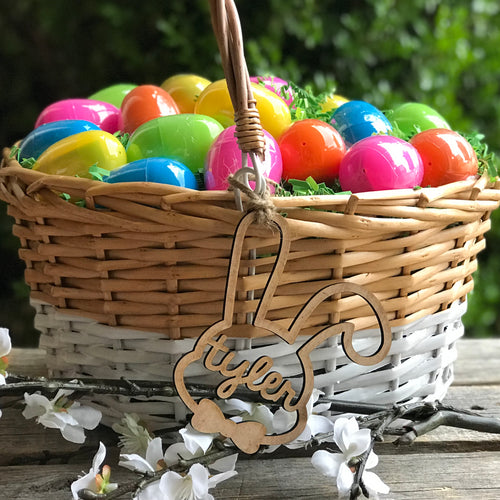 easter basket with wood tag