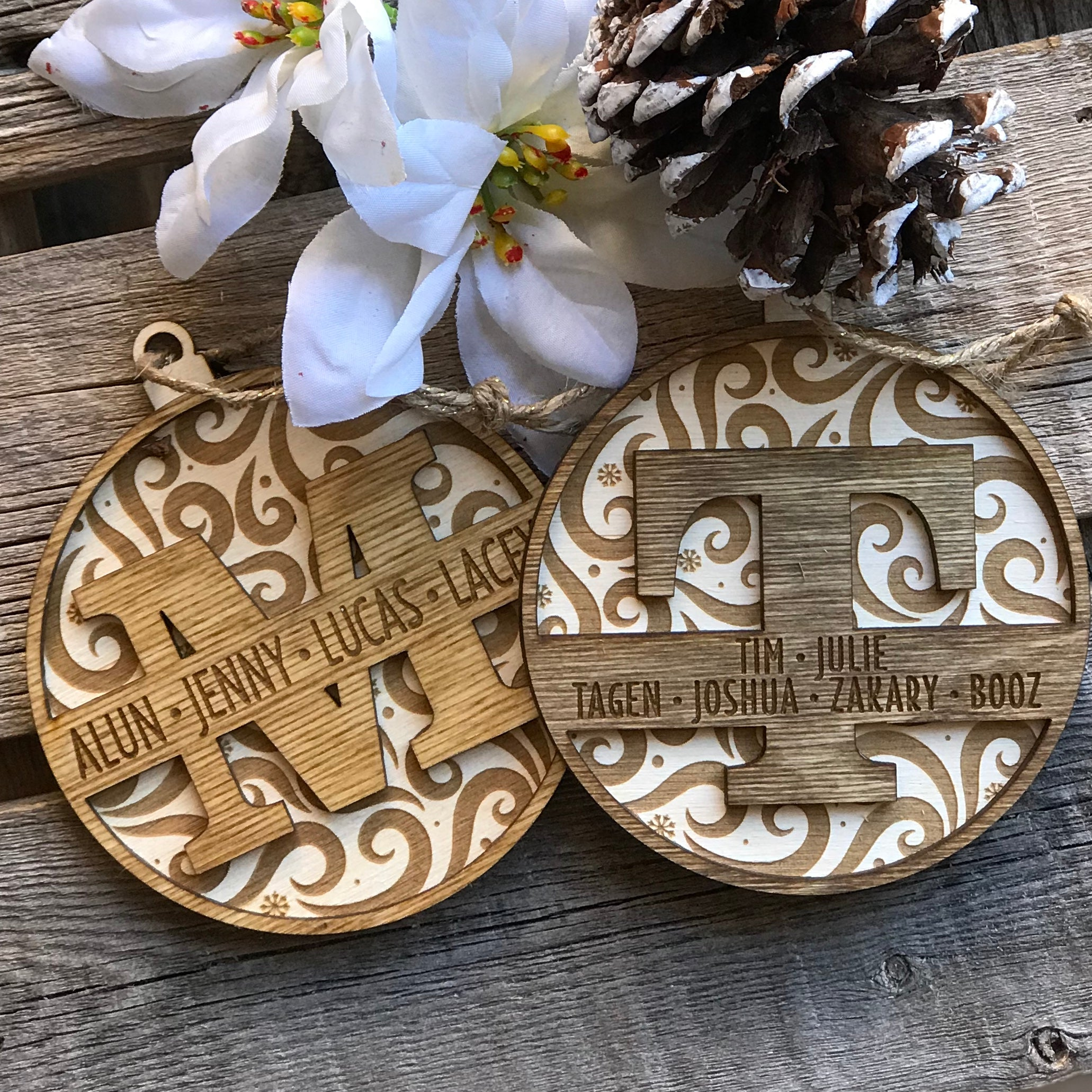 Monogram Swirl Ornament