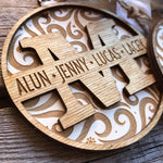 Load image into Gallery viewer, personalized monogram ornament with names