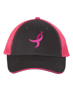 Pink and Black Trucker Cap, Pink Ribbon
