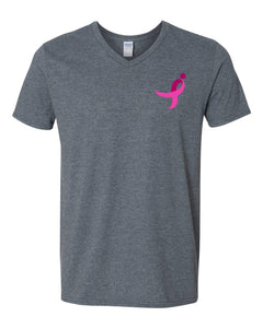 Softstyle V-Neck, Pink Ribbon