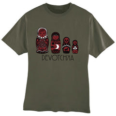 Apparel: Men & Women's Green Doll T-Shirt