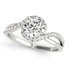 Luxury Diamonds Vancouver Bypass Diamond Engagement Ring With 1.50 Carat Round Diamond H Color VVS2 Clarity