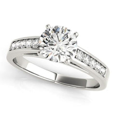 Luxury Diamonds Vancouver Channel Set Diamond Engagement Ring With Side Stones With 2.04 Carat Round Diamond D Color SI2 Clarity