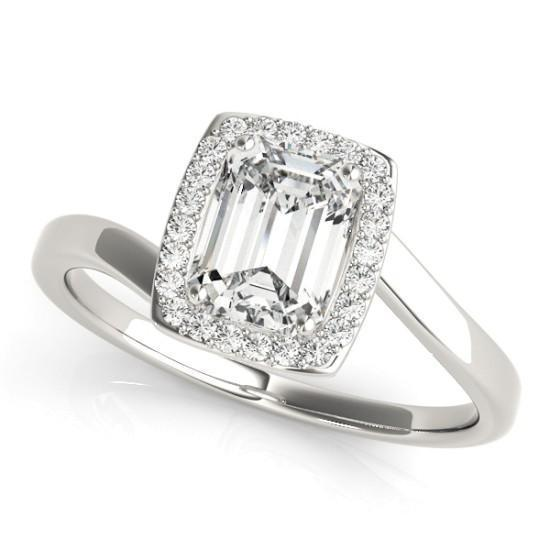 Luxury Diamonds Vancouver Emerald Cut Halo Diamond Engagement Ring