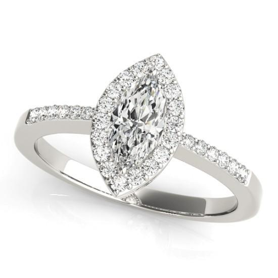 Luxury Diamonds Vancouver Marquise Cut Halo Diamond Engagement Ring