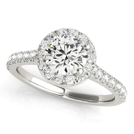 Luxury Diamonds Vancouver Round Cut Halo Diamond Engagement Ring