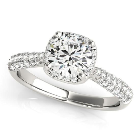 Luxury Diamonds Vancouver Round Cut Halo Multi Band Diamond Engagement Ring