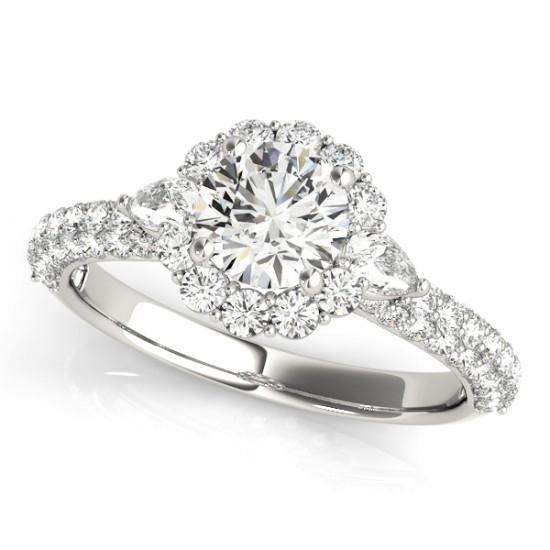 Luxury Diamonds Vancouver Round Cut Halo Multi Band Pave Diamond Engagement Ring