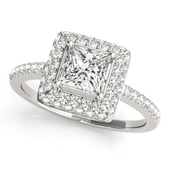 Luxury Diamonds Vancouver Square Cushion Cut Halo Diamond Engagement Ring