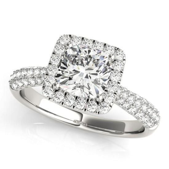 Luxury Diamonds Vancouver Square Cushion Cut Halo Multi Band Diamond Engagement Ring