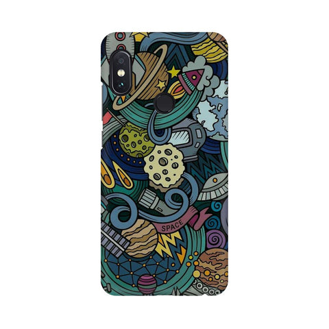 space doodle xiaomi redmi note 5 pro mobile cover