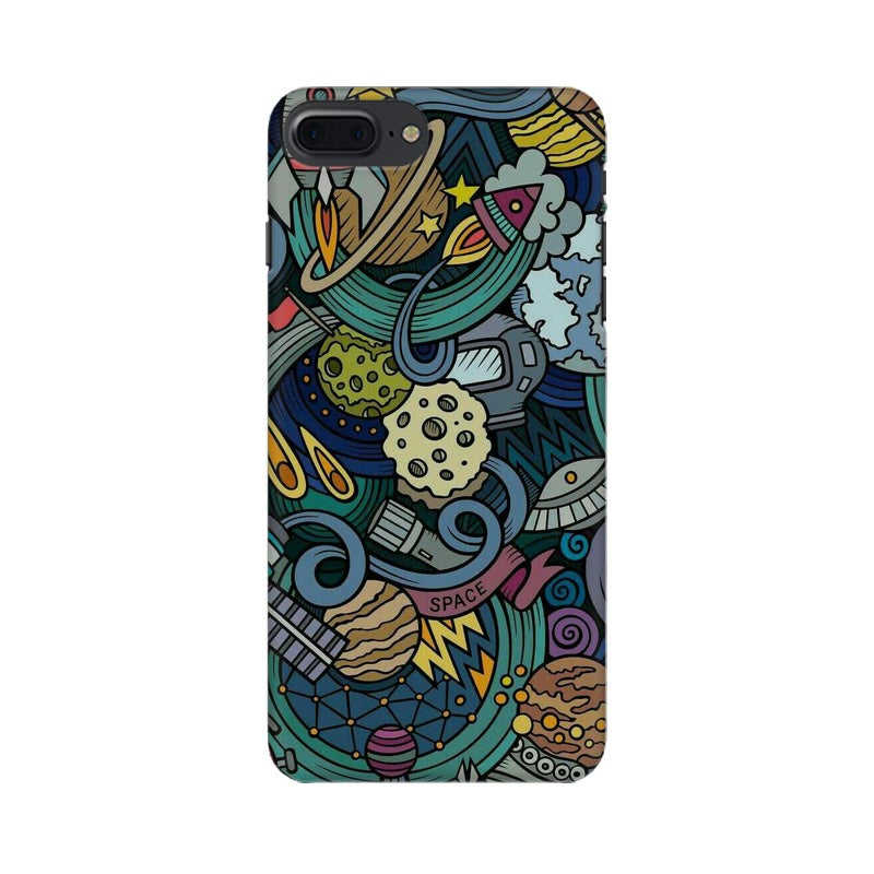 space doodle apple iphone 8 plus mobile cover