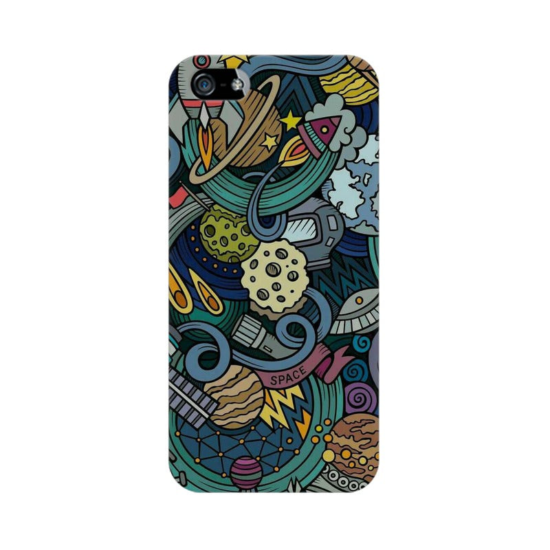 space doodle apple iphone SE mobile cover