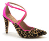 Leopard Print Mary Janes with Pink Crossed Straps - ONE55 by Werner