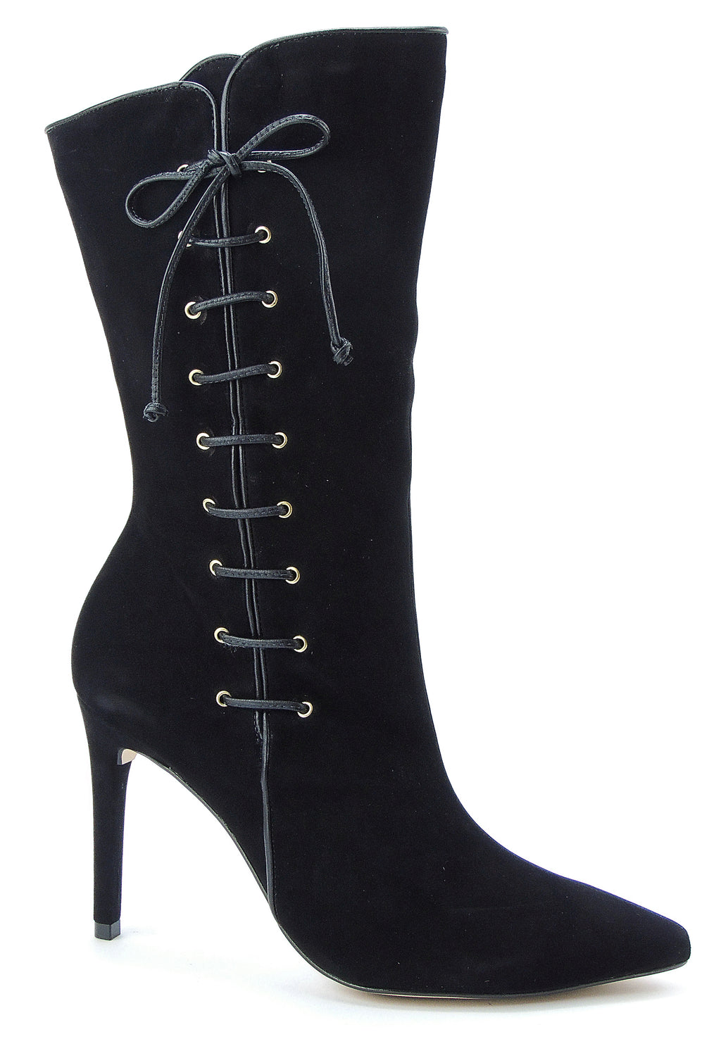 Black Nubuck Pointed Toe Lace Up Boots - ONE55 by Werner