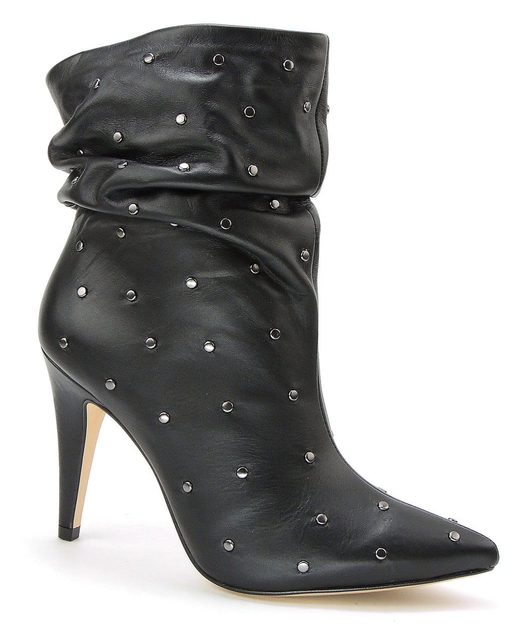 Black Slouchy Soft Leather Boot With Studs - ONE55 by Werner