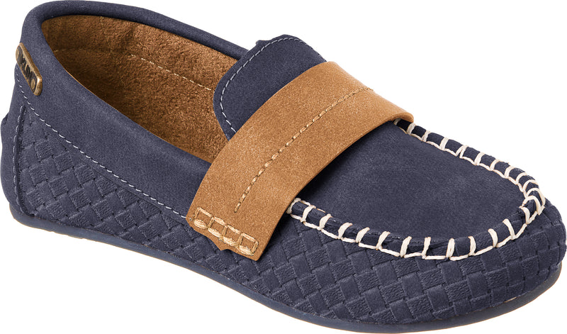 Kids Navy Leather Loafers