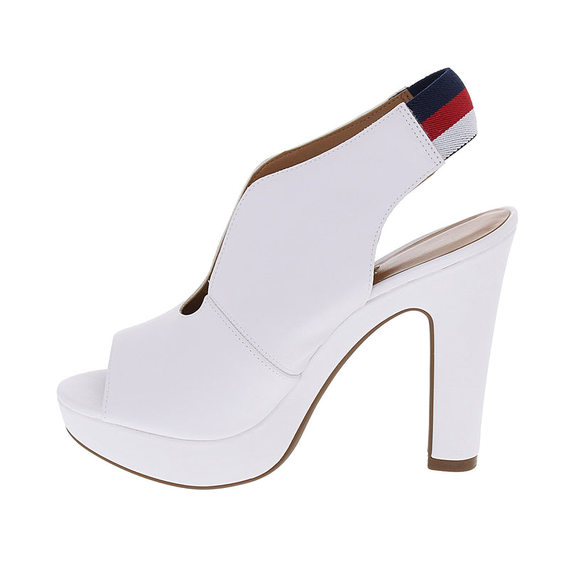 Punk White Leather Peep Toe Slingback Platform - ONE55 by Vizzano