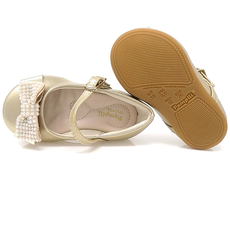 Rubber sole - Angel Pearls III Shoe Gold- Pampili