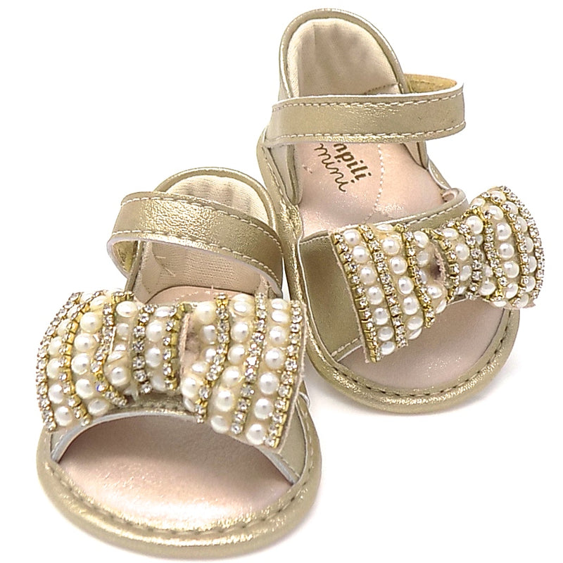 Golden Chamomile Ribbon Bow Sandal - Pampili