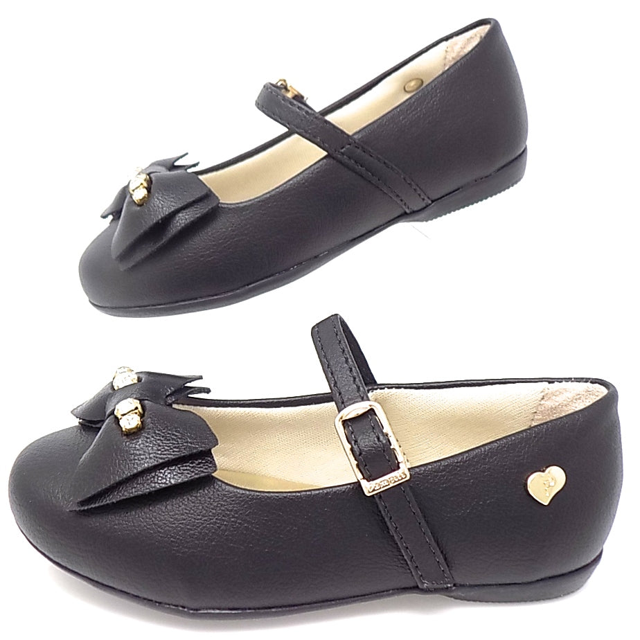 Black Ballerina Ribbon Bow Shoe - Pampili
