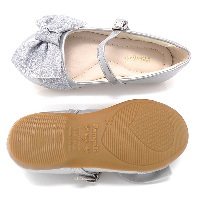 Rubber outsole - Ballerina SideBow Sneaker Silver - Pampili