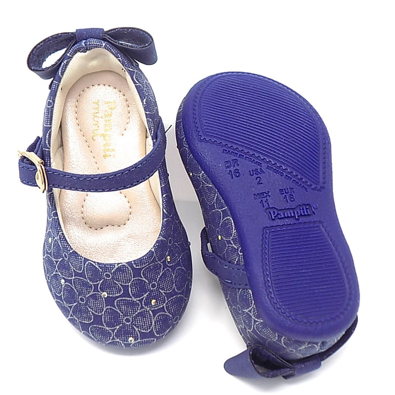 Rubber outsole - Navy Angel Back Bow Sneaker - Pampili