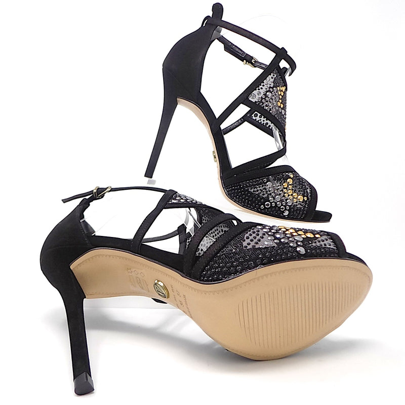 Black and Sparkles Thin Heeled Sandal