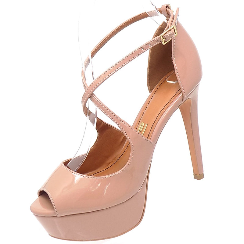 Crossed Baked Varnished Peep Toe Platform
