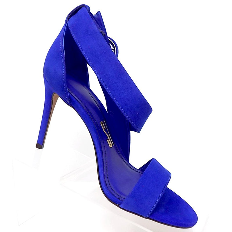 Crossed Blue Velvet Stiletto Heel Sandal