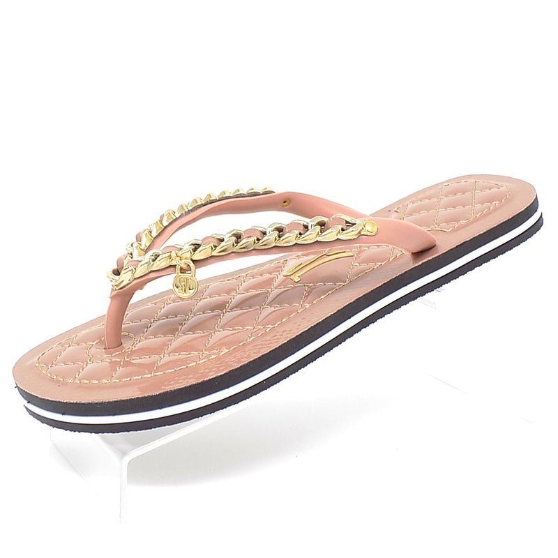 Embellished Varnished Beige Flip Flop