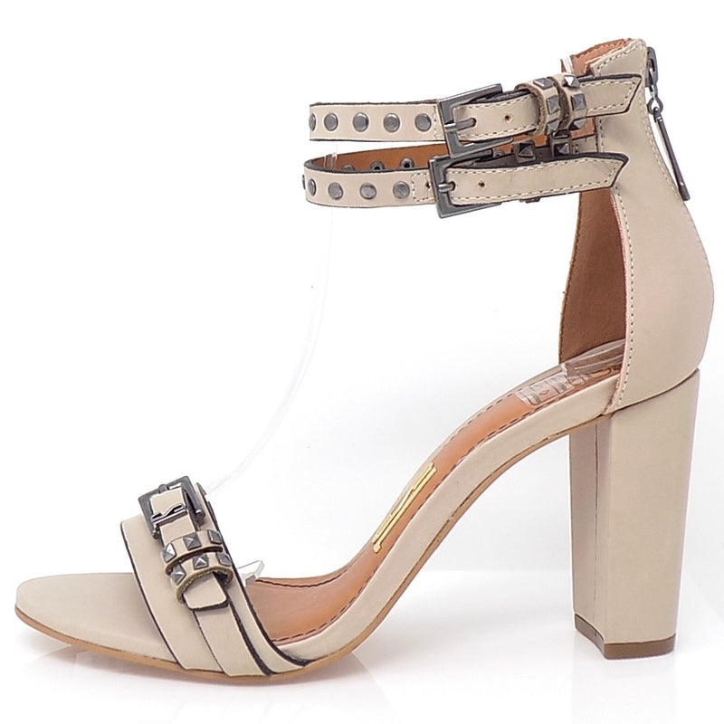 Double Stripe Nude Ankle Buckled Sandal