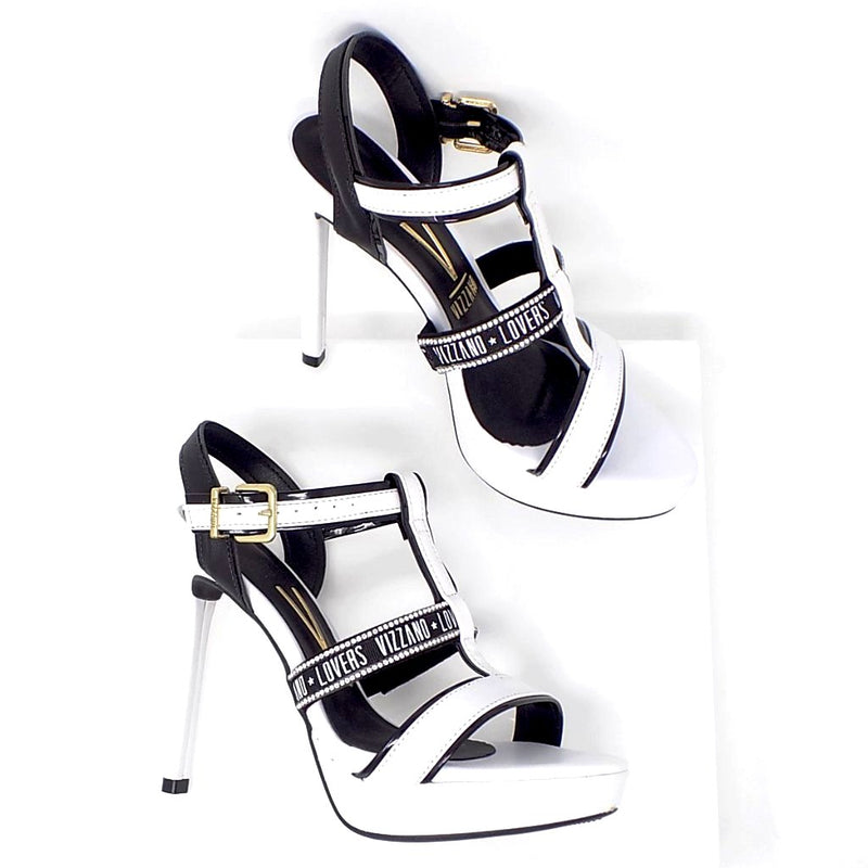 Black and White Stiletto Heel Sandal embellished with Crystals - ONE55 by Vizzano