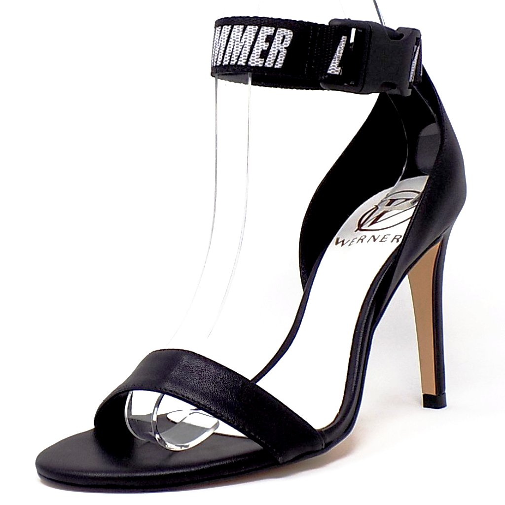 Black Stiletto Sandal Ankle Buckle Detail
