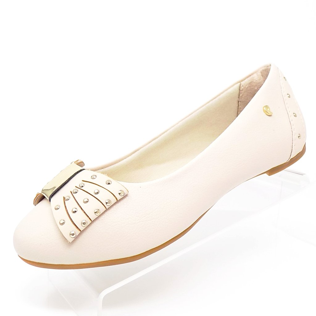Beige Leather Multi Straps Bowl Girl Flat